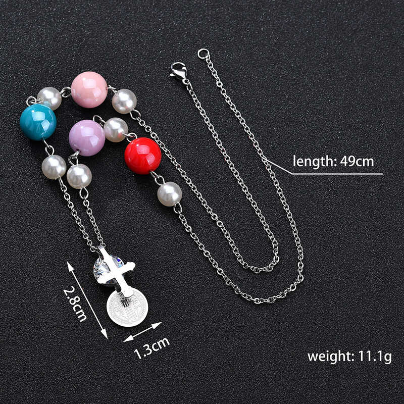 Women Classic Stainless Steel Cross Necklace & Pendant Christian Cubic Zirconia Round Jesus Coin Rosary Necklace With Beads