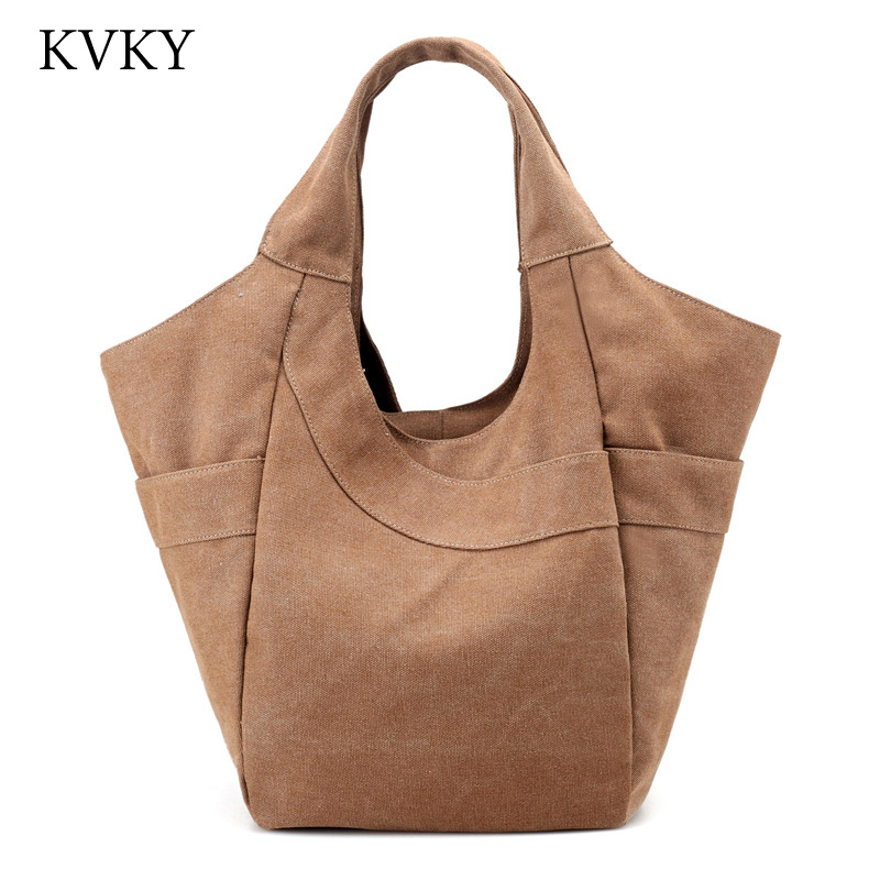 Canvas Handbag Large Hobos Bag Totes Bolsas Solid Ladies Shoulder Bag