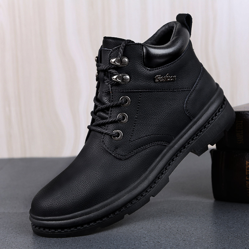 2019Outdoor Men Hiking Shoes Rubber Non slip Genuine Leather Shoes Winter Ankle Boots Waterproof Sport Shoes