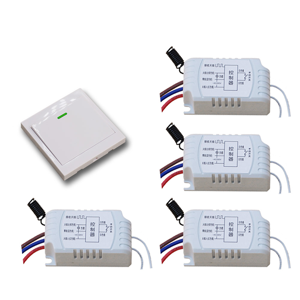AC220V Wireless Remote Control Switch System 4pcs Receiver+Wall Panel Remote Transmitter Sticky Remote Smart Home Switch 315/433 ac 220 v 1ch wireless remote control switch system receiver wall panel remote transmitter sticky remote smart home switch
