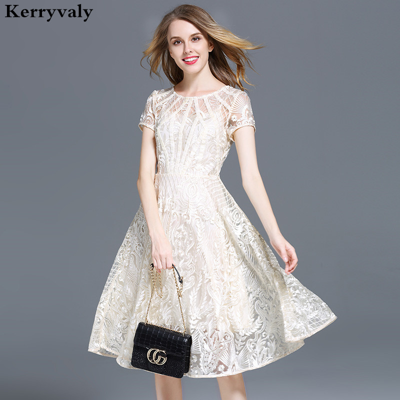 High end Beige Embroidered Lace Dress Women Summer Dress Vestidos Verano 2019 Ladies Rockabilly Party Beach