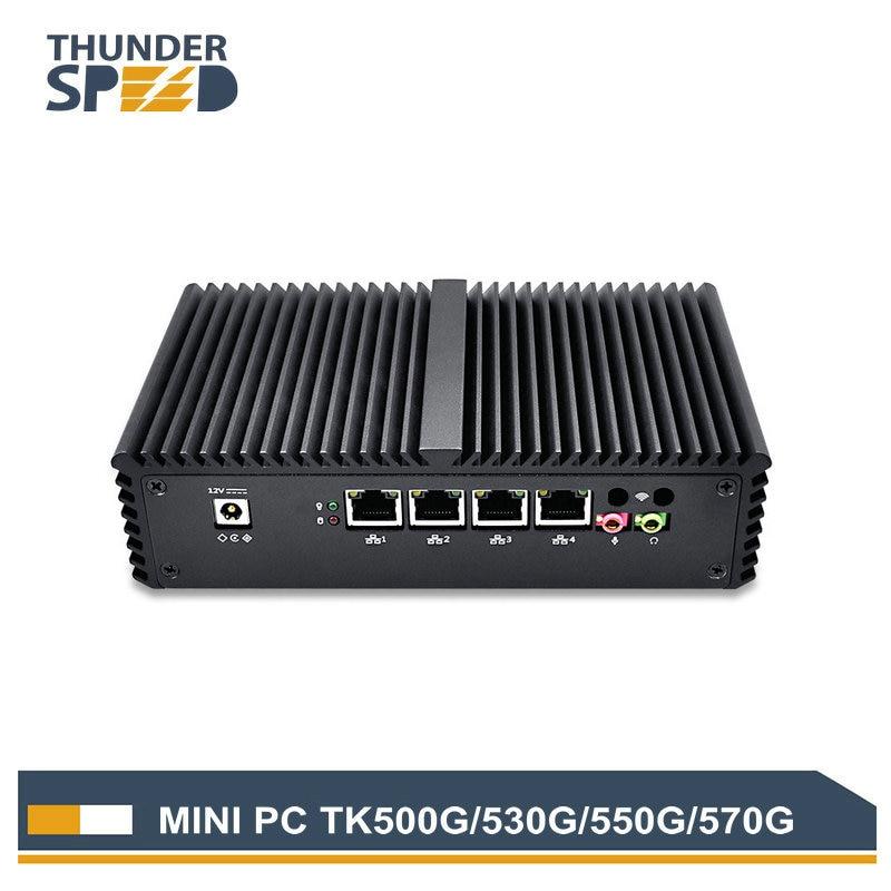 Fanless Dual Core 4 LAN Mini PC i5 4200U Windows 10 Micro PC Mini Computer PFsense 1 COM Dual WIFI Firewall Router