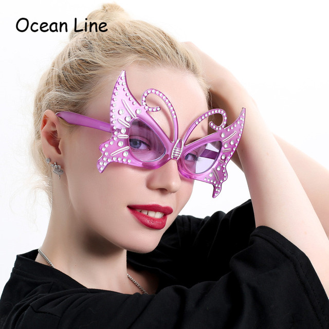 b6fc15669b Funny Purple Butterfly Costume Glasses Party Mask Photo Booth Props  Birthday Gifts Events Festival Party Supplies Decoration