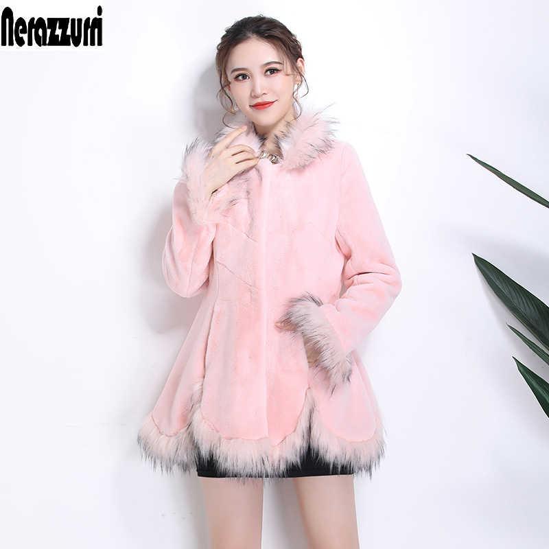 Nerazzurri สีชมพูขนสัตว์ faux Fox FUR Trim แขนยาว PLUS ขนาดขนสัตว์ปลอมเสื้อ 5XL 6XL 7XL fluffy เสื้อผ้าสตรี