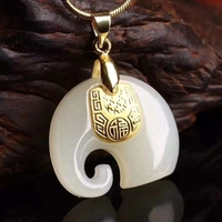 Koraba Fine Jewelry 24K Gold Chinese White Jade Elephant Pendant Handmade Women Necklace Gemstone Gold Jewelry