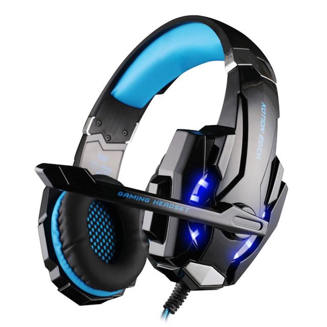 Kotion each g9000 3.5mm juego mikrafon gaming auriculares auriculares auriculares con micrófono y luz led para el ordenador portátil tablet/ps4/xiaomi