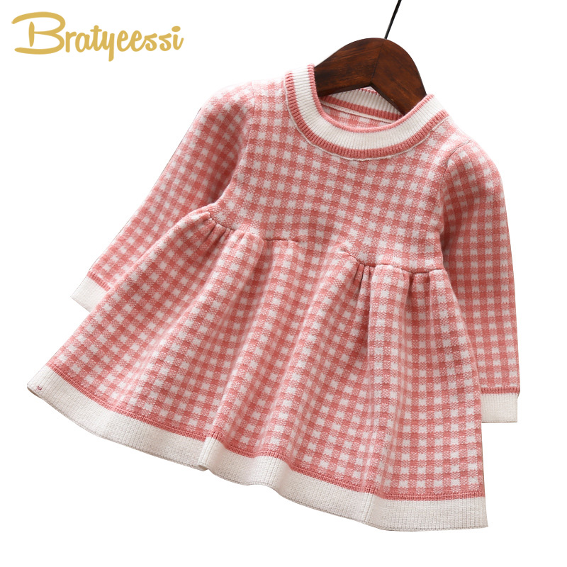 New Plaid Baby Dress for Girls Autumn Winter Baby Girl Dress Knitted Long Sleeve Baby Girl Clothes Dresses Infant Clothing пилочка для ногтей divage 10871588