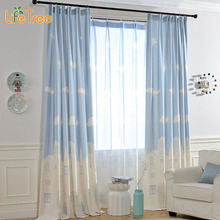 Kids Linen Curtains For Bedroom Pink & Blue Window Drapes In Children Room Prince & Princess Color Window Tulle Custom Made