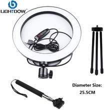 Lightdow большой/маленький Dimmable светодиодный светильник для студийной камеры с кольцом для телефона видео лампа с штативами селфи палка кольцо стол заполняющий свет