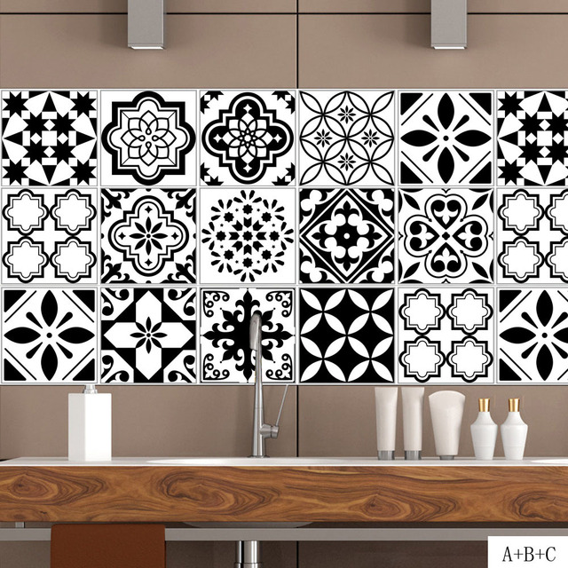 Delightful Black White Nordic Style Retro Tile Stickers PVC Bathroom Waterproof Wall  Stickers Home Decor Self