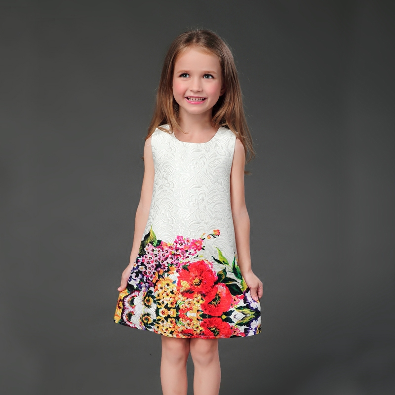 Brand fashion white floral prints straight pencil skirts mother and daughter sundresses family clothes girls sleeveless dresses