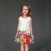 Merk mode witte bloemenprints straight potlood rokken moeder en dochter overgooiers familie kleren meisjes mouwloze jurken