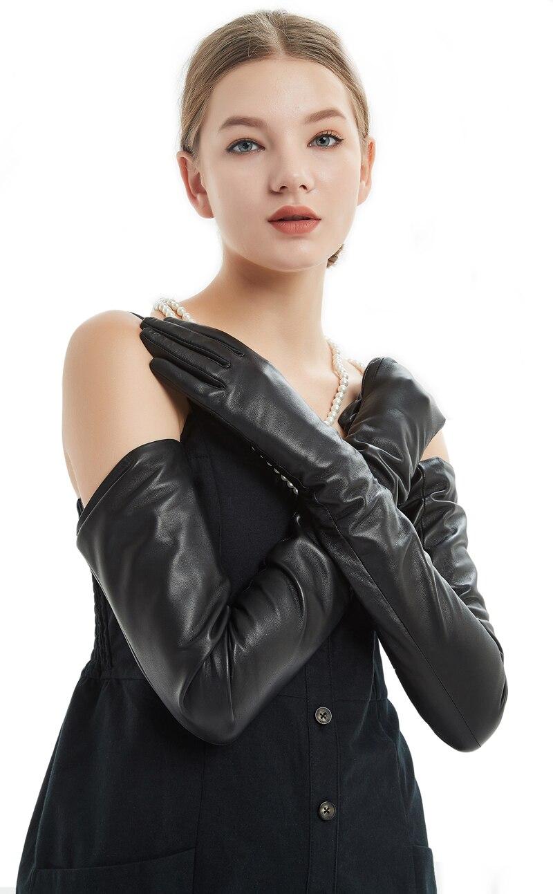 80 см (31,5 ) Длинные Простые супер длинные перчатки из натуральной овечьей кожи черные - 6