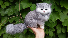 simulation gray cat model toy,polyethylene&furs 19x15cm sounds miaow cat ,home decoration,Xmas gift c535 цена