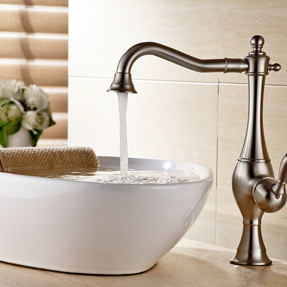 Brushed Nickel Deck Mounted Bathroom Basin Faucet Single Handle Countertop Mixer