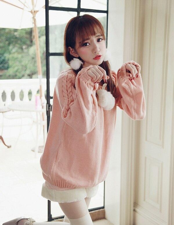 Princess sweet lolita sweater BoBON21 Exclusive design cherry Rabbit hair ball twist Two wear Korah shoulder sweater T1286