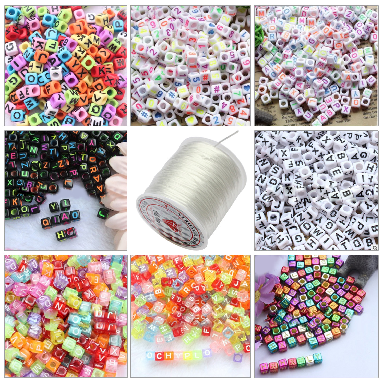 800pcs 8 Style Acrylic Letter Number Craft Beads With 1 Roll Elastic String For Jewelry Making DIY Bracelets Necklaces