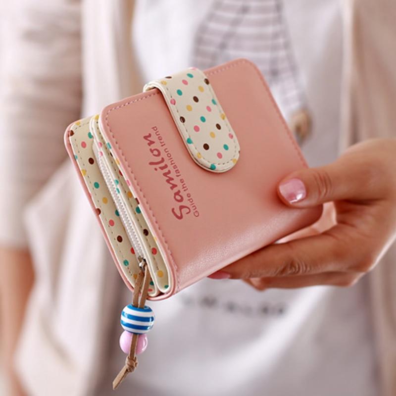 Mode bonbons couleurs femmes portefeuilles court à pois en cuir petit portefeuille à fermeture éclair sac à main porte-cartes pour filles femmes Laddies