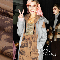 Coffee Mottled Color Printing Thin Section Of Wool Fabric 30 Off Fall And Winter Clothes Fabric