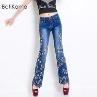 BetiKama/высококачественные брюки клеш с вышивкой, джинсы, женские расклешенные брюки с цветочным принтом, большие размеры, обтягивающие джинс