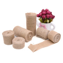 5 Meters Natural Jute Burlap Hessian Ribbon Rolls Vintage Rustic Wedding Decoration Gift Wrapping Festival Party Home Decor(China)
