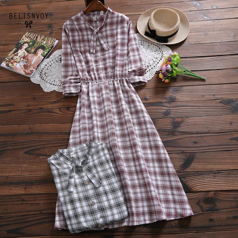 Japonês mori menina vestido longo primavera outono senhora bowknot algodão linho vintage vestido longo feminino manga comprida xadrez vestidos