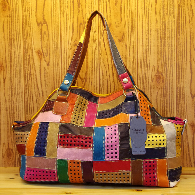 Free shipping Carl fashion patchwork cutout stripe color block shoulder bag messenger bag genuine leather handbag women's цена 2017