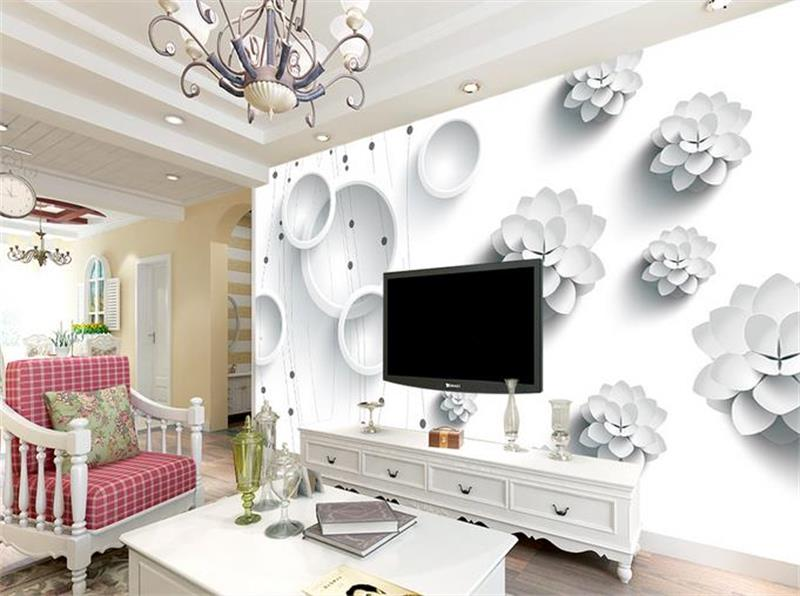 3d photo wallpaper custom mural room non-woven White Mirage circle flower painting picture 3d wall murals wallpaper for walls 3d 3d ceiling murals wallpaper custom photo non woven angels blue sky white clouds painting 3d wall mural wallpaper for living room