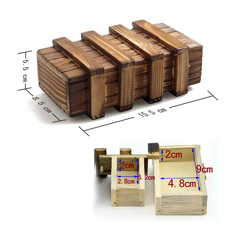 2018 Magic Compartment Wooden Puzzle Box With Secret Drawer Baby Brain Teaser Educational Toys for Children Kids Gift