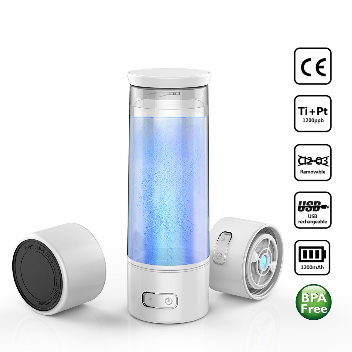 USB Rechargable High-Rich Hydrogen Water Bottle Ionizer Maker Generator Hydrogen Oxygen Separation Alkaline Energy Cup Filter 260ml rechargeable rich hydrogen water generator electrolysis energy hydrogen rich antioxidant orp h2 water ionizer glass bottle