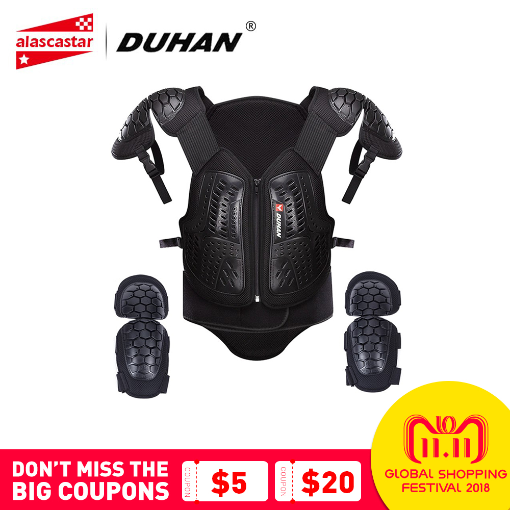 DUHAN Motocross Clothing Racing Body Armor Men Motorcycle Jacket Moto Waistcoat Protection Vest Chest Protective Gear Elbow Pads duhan motorcycle jacket full body armor protective armor motocross racing protective gear motorcycle protection clothing