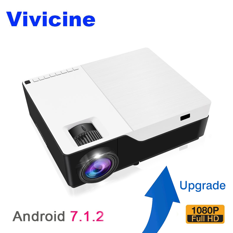 Vivicine M18 Full HD LED Projector, Optional Android 7.1 HDMI USB PC 1080p Home Multimedia Video Game Projector Proyector Beamer