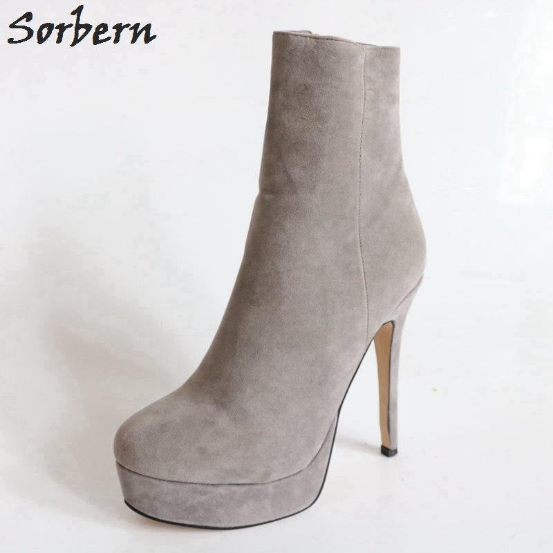 Sorbern/ботильоны на платформе и очень высоком каблуке 14 см с круглым носком; зимняя обувь; женские зимние ботинки на заказ; большие размеры 41