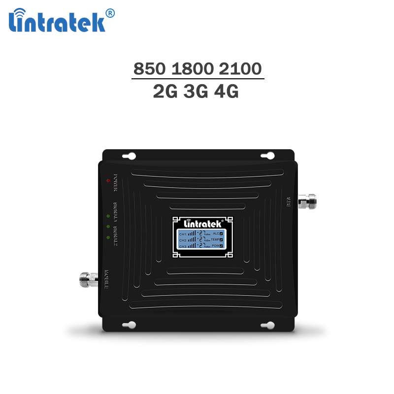 Lintratek Tri-band Repetidor 850Mhz 1800 2100Mhz Booster 2G 3G 4G Repeater 4G LTE 1800 Amplificador GSM 3G 4G Signal Booster #4