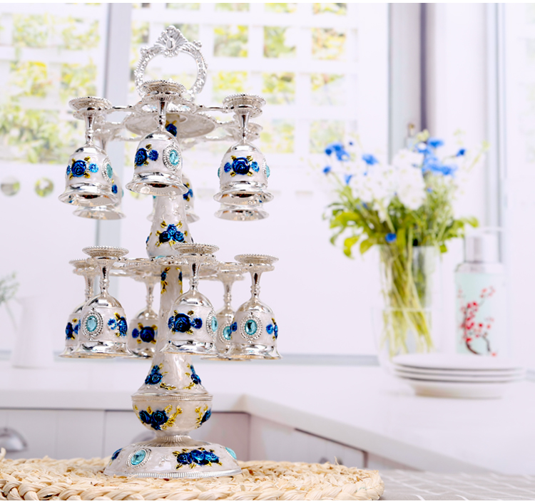 European Russian Two Layer Metal Hanging Sherbet Rack Crystal Sherbet Cup Holder Fashion Exquisit Castle pattern cup table decoration