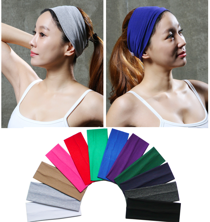 3 inch Solid Cotton Headband Softball Sweatband Hair Band Bandage On Head Turban Bandana Elastic
