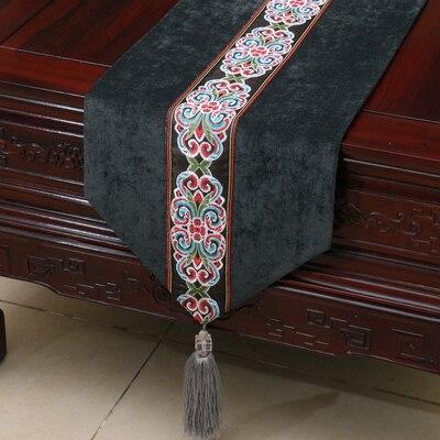 Chemin de Table de noël en dentelle chinoise de luxe brodé décoration de mariage tapis de Table à manger nappe en velours rectangulaire