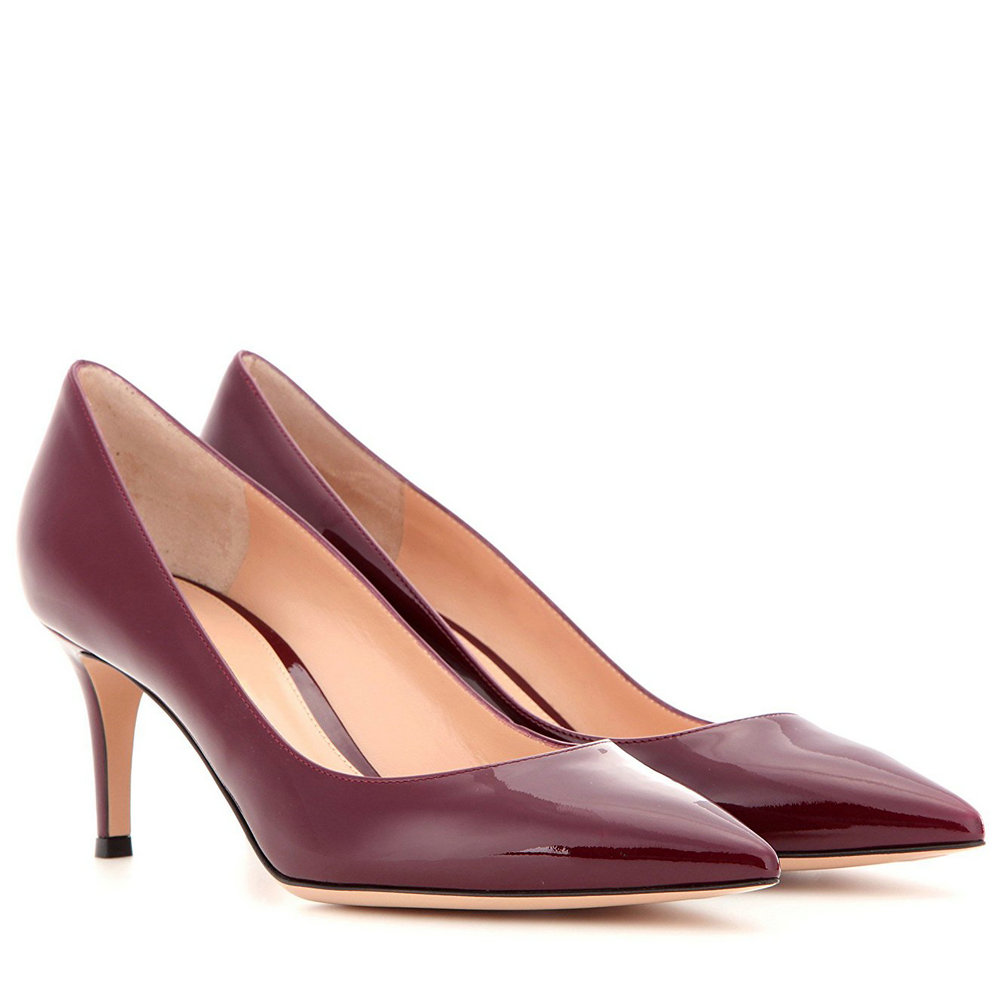 AIWEIYi Women Pumps Spring Autumn 6.5CM Pointed Toe Patent Leather Pumps  Kitten Heels Shoes Med Heels Pumps Ladies Wedding Shoes-in Women s Pumps  from Shoes ... e16d54f91318