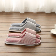 Yu Kube Flax Home Slippers 2018 New Open Toe Indoor Floor Printing Linen slipp Non-Slippers Comfortable women House Shoes(China)
