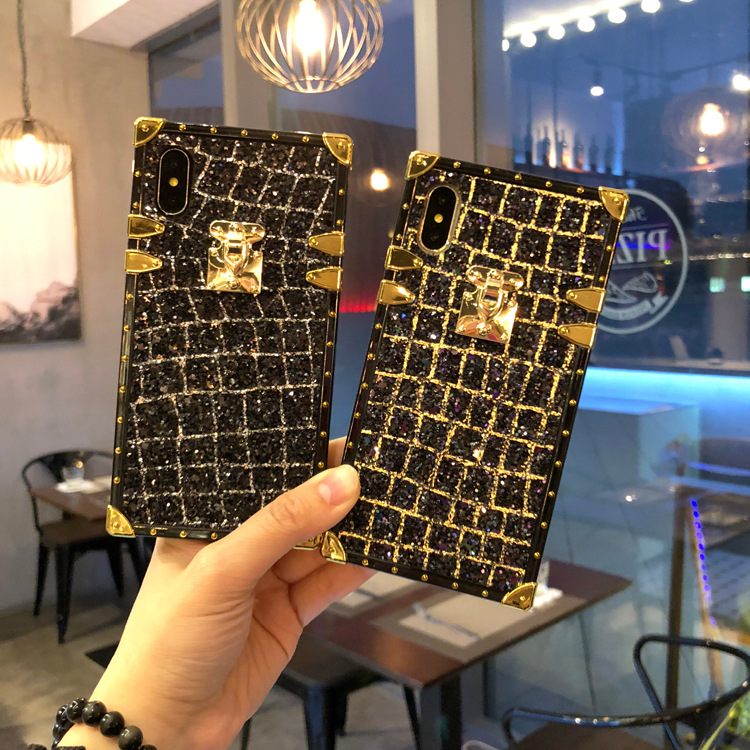 Plaid Glitter Bling Plating Soft TPU Phone Iphone 6 6S 7 8 Plus X Vintage Cover For Samsung Galaxy S8 S9 Plus