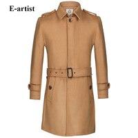 E-אמן אחת חזה של גברים גברי מעיל גשם צמר ארוך חם מעילי חורף מעילי הלבשה עליונה בתוספת גודל רעיון של מעיילי טייסי 5XL N35