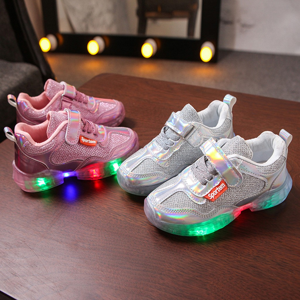 Kids Baby Infant Girls Cristal Noeud DEL lumineux Bottes Chaussures Baskets 12M-6Y