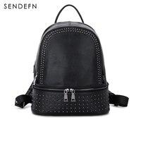 100 Genuine Leather Backpack Large Capacity Rivet Black Shoulder Bag Women Casual Backpack Teenage Girls School