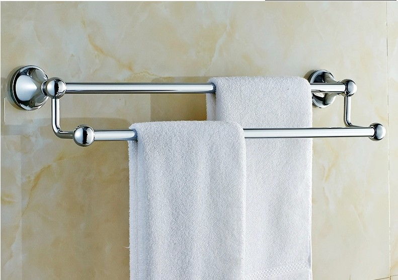 60CM Stainless Steel Towel Rack Double Bar Towel Rack Thickening Bathroom Accessories stainless steel bathroom towel rack rotation activities bar single pole double hanging three bathrooms