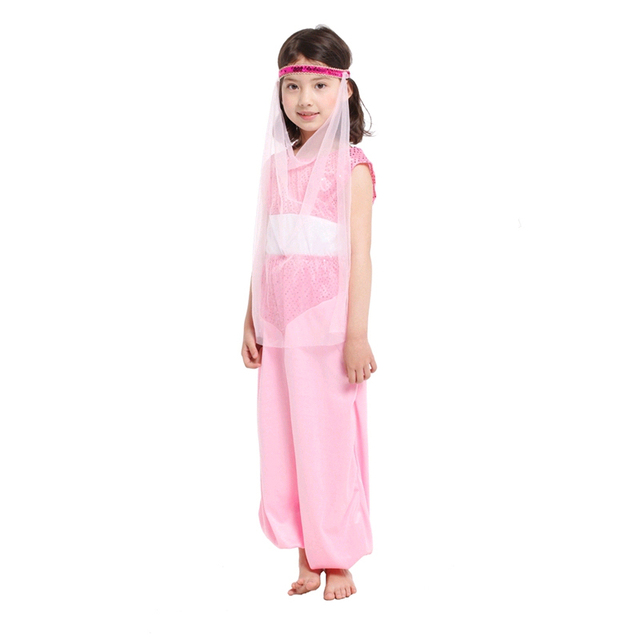 058ecb442c4d0 Pink Sequined Chiffon Top + Pants + Mesh Mask Fancy Arab Princess Carnival  Party Halloween Cosplay Costumes for Kids Girl 0167
