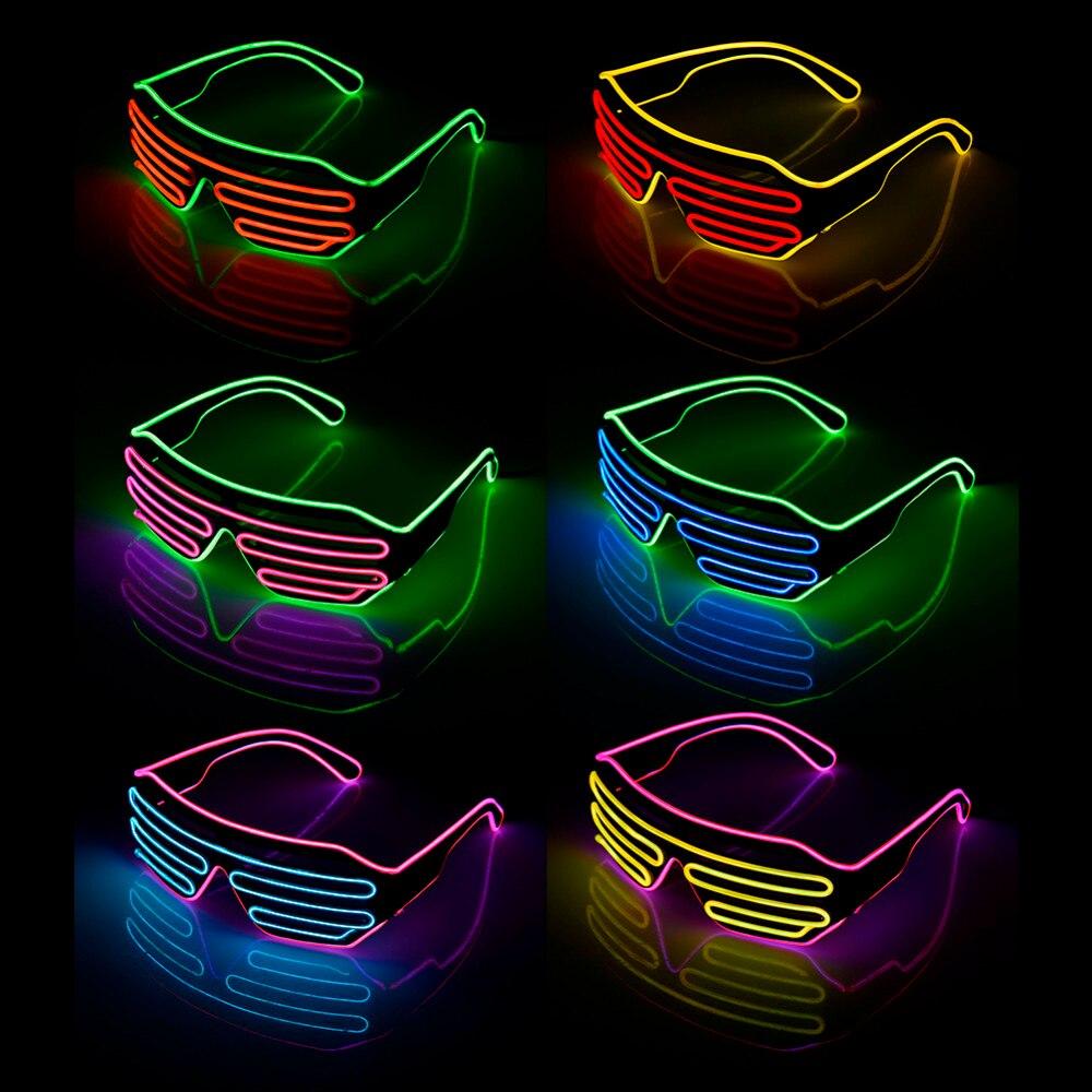 Dos colores persianas modos Flash EL Flash gafas iluminación luminosa colorido brillante DJ gafas clásico carnaval baile Bar fiesta
