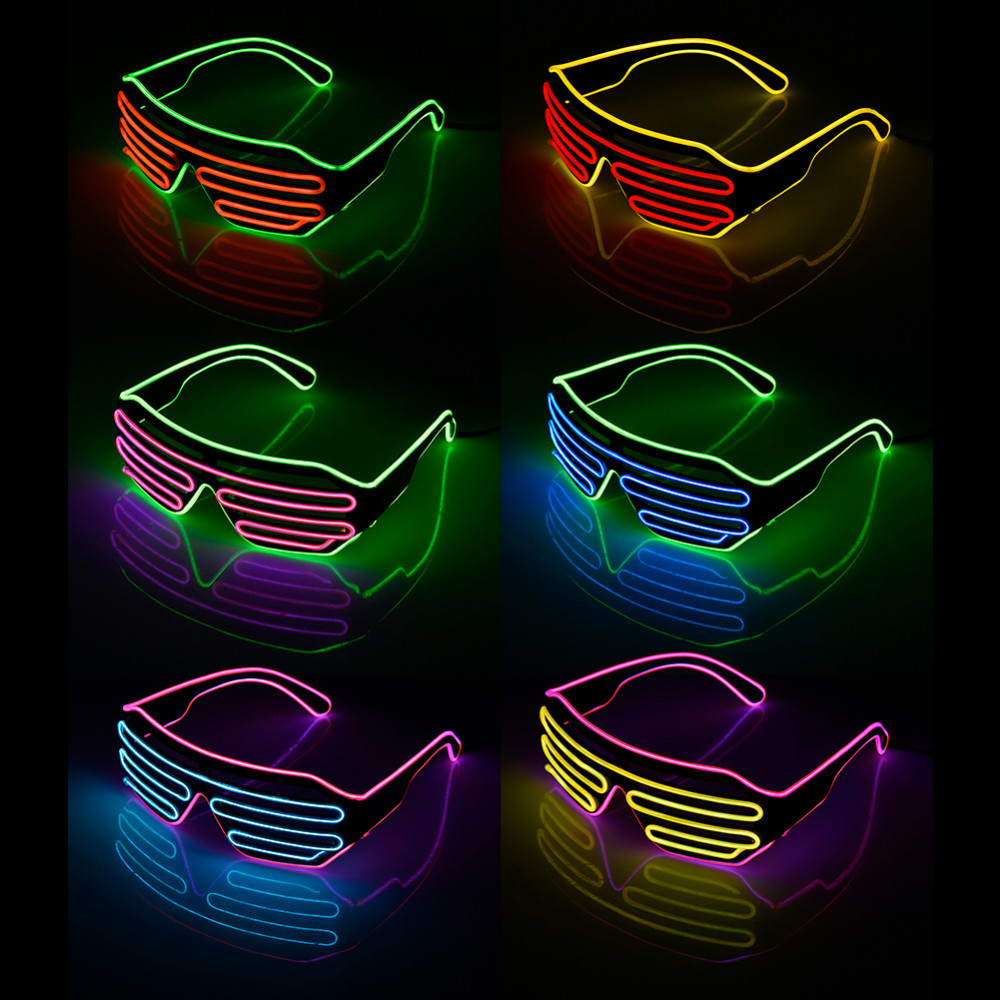 Two-Color Blinds Modes Flash EL Flash Glasses Luminous Lighting Colorful Glowing DJ Glasses Classic Carnival Dance Bar Party
