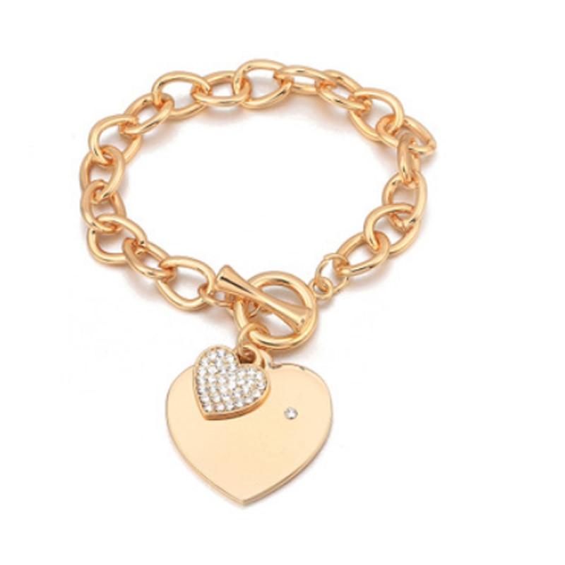 Fashion Buckle Design Love Heart Charm Bracelets Trendy Women Bracelet Gold Chain Heart Bangles Jewelry Gift