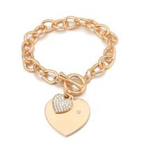 Fashion Buckle Design Love Heart Charm Bracelets Trendy Women Bracelet Gold Chain Bangles Jewelry Gift