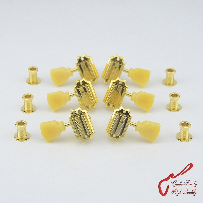1Set GuitarFamily  3R-3L  Vintage Deluxe Guitar  Machine Heads Tuners   Gold  ( #1281 ) MADE IN TAIWAN